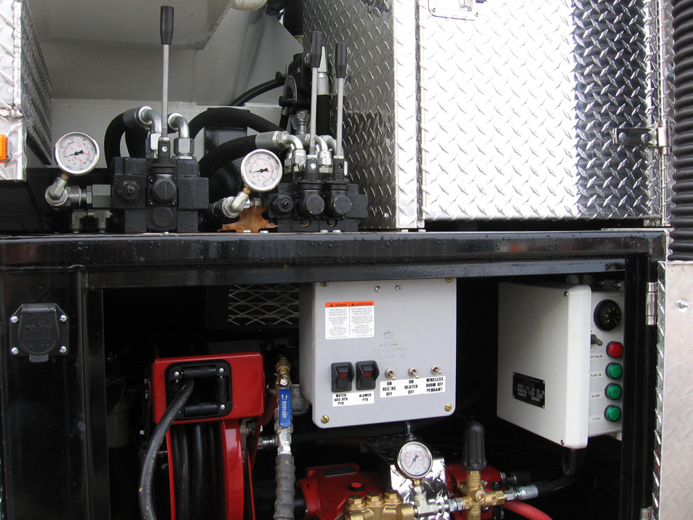 Enclosed, heated cabinet for water and recirculation pump. Winter antifreeze kit.